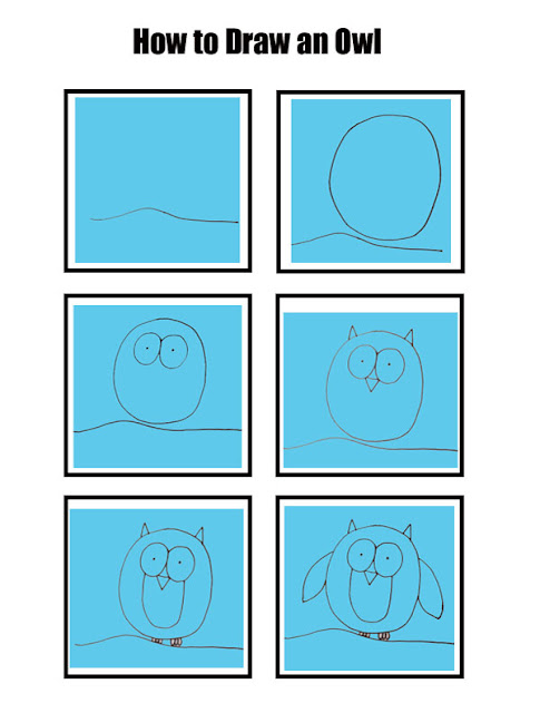 How to draw an owl step by step for kids