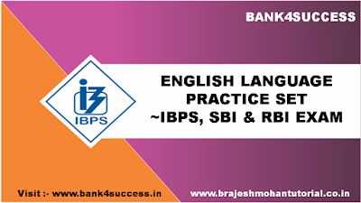 English Language Practice Question for SBI, IBPS & RBI Exam
