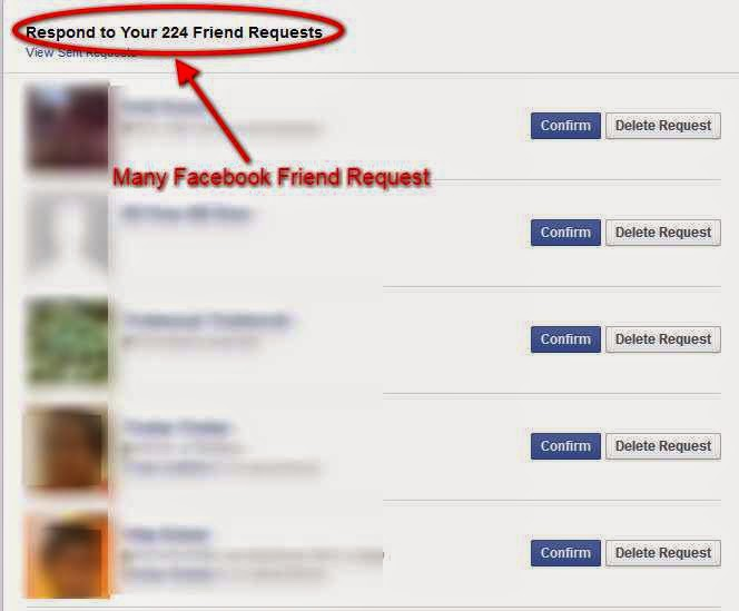 Many Facebook friend request