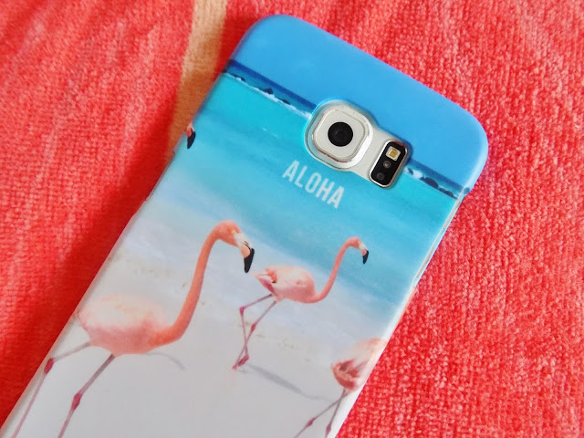 pink flamingo on a beach phone case