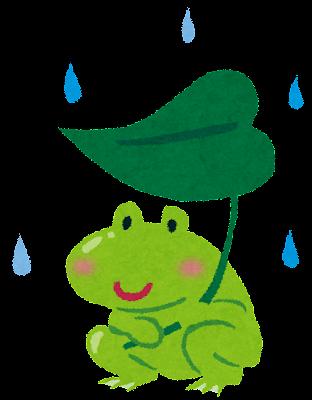 梅雨のイラスト「蛙と葉っぱの傘」