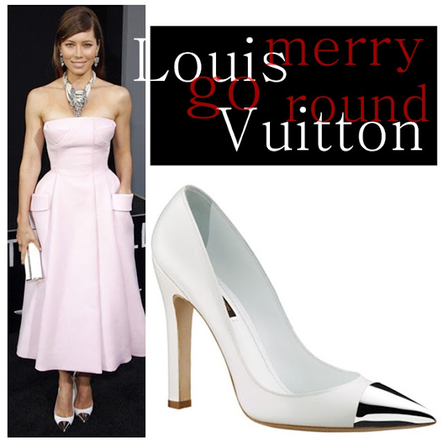 Jessica Biel wearing Louis Vuitton Merry-Go-Round pumps