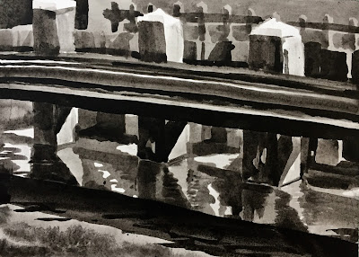 Mooring posts in the Amstel river, Amsterdam ink painting by Philine van der Vegte