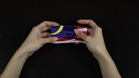 Diy flag hairbow (super easy) -  Next fold both open ends in toward the middle. You may fold one way slightly over the middle, so the bow looks bigger.