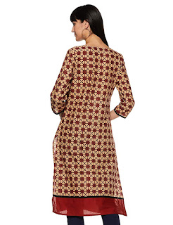 Myx, Amazon, Red, Kurti-Kurta, Straight Fit, Three Quarter Sleeve, Knee Length, Mandarin Collar,