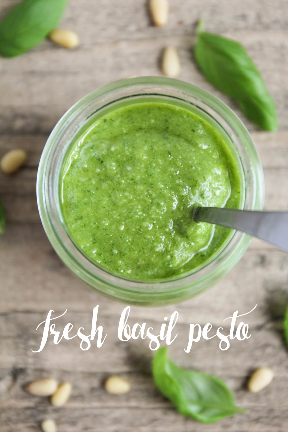 This fresh basil pesto is made with only five ingredients and is so flavorful and delicious!