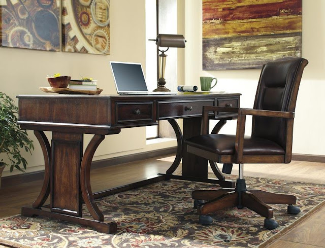 best buy solid wood dark brown home office desk with chair sale