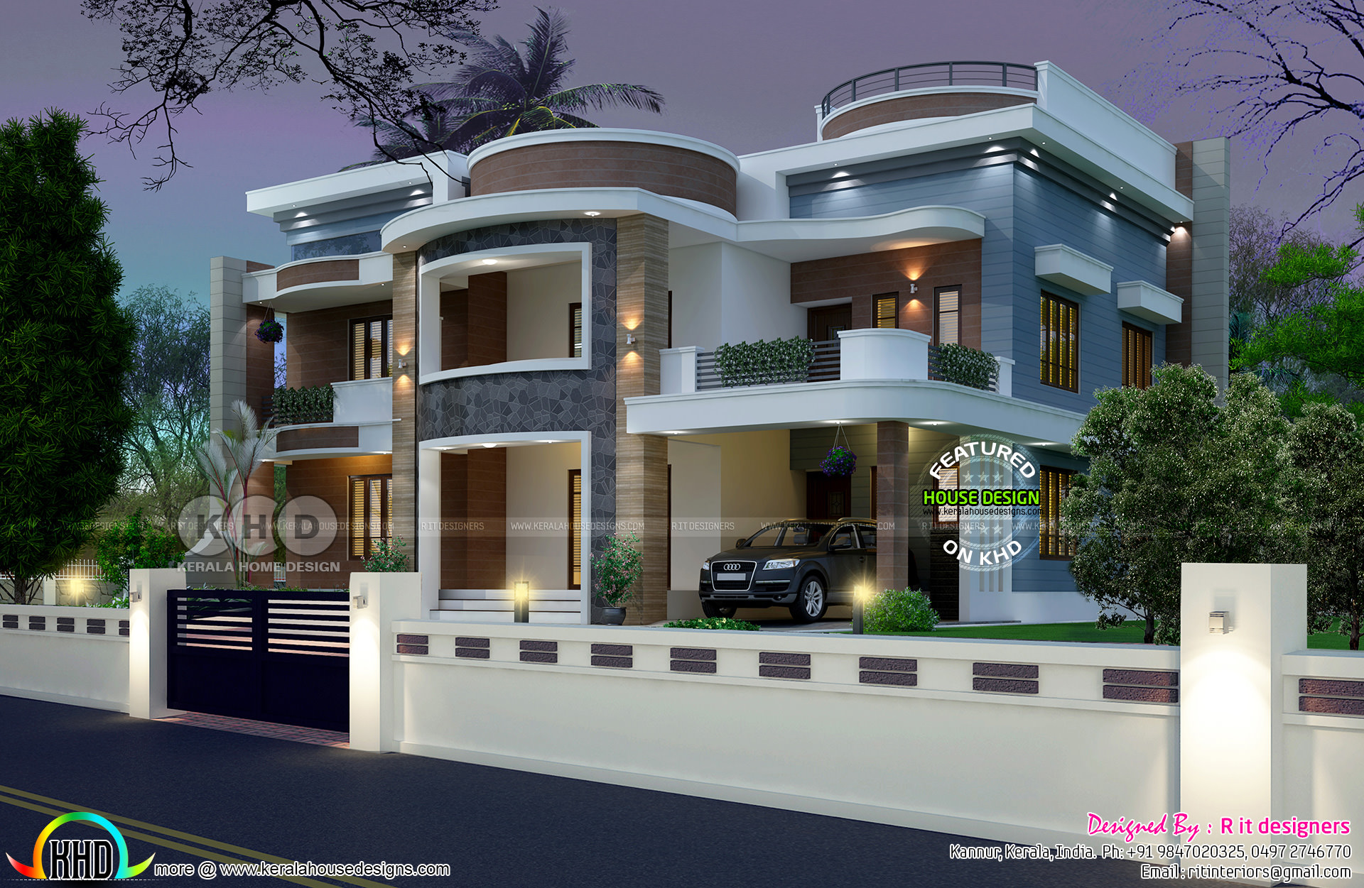Astounding 6 bedroom house plan kerala home design and for Home designs 6 bedrooms
