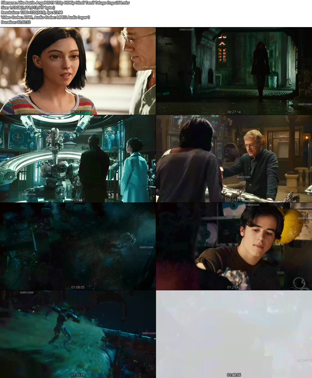 Alita Battle Angel 2019 720p HDRip Hindi Tamil Telugu Eng | 480p 300MB HEVC Screenshot