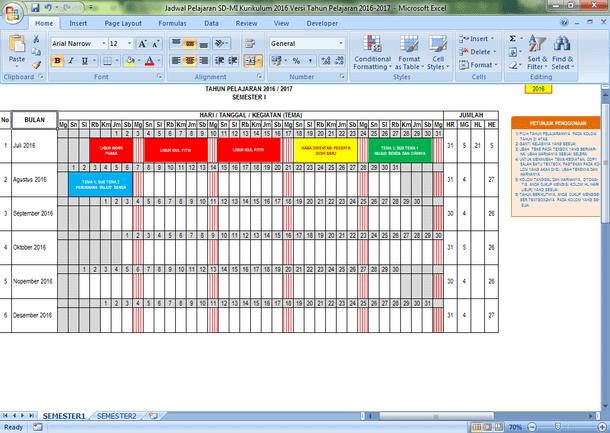 Jadwal Pelajaran SD-MI Kurikulum 2013 Tahun Pelajaran 2016-2017 Format Microsoft Excel