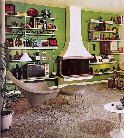 New home design ideas theme inspiration retro stylish - Open shelving living room ...