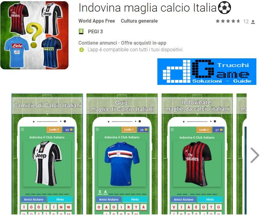 Soluzioni Indovina maglia calcio Italia | Screenshot Livelli con Risposte