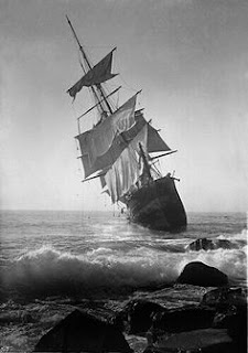 Old sailing ship run aground