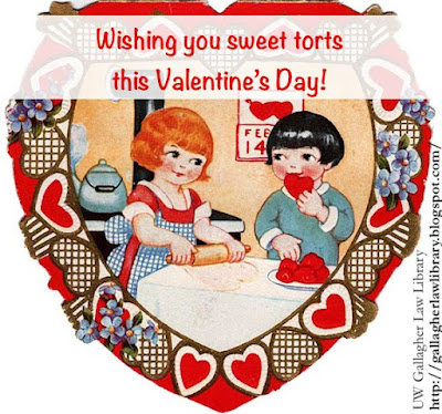 "Heart-shaped, vintage valentine with two children baking heart-shaped cookies. Says ""Wishing you sweet torts this Valentine's Day!"" overhead. Valentine is surrounded by a border of hearts and violets."