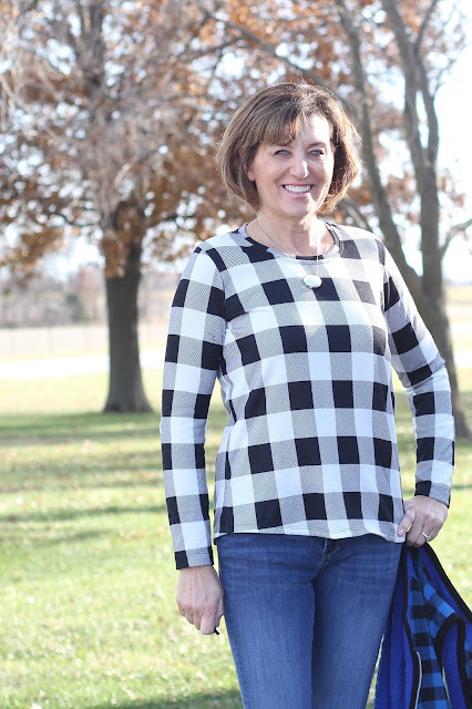 Hey June Union St Tee in a buffalo check knit from Joann's