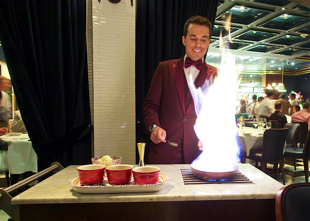 Table side Bananas Foster from Carbone at The Aria in Las Vegas