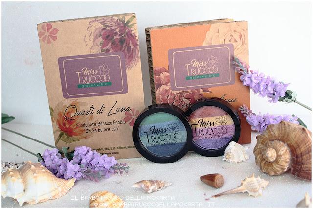 miss trucco eyeshadow palette ombretti terra  acqua  packaging terra acqua mix perfetto viola blu verde bronzo  recensione