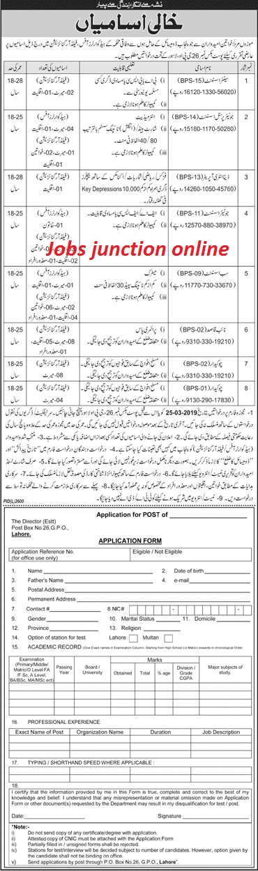 Federal Govt Department Jobs 2019 | P.O Box 26 G.P.O Lahore | 66 Vacancies