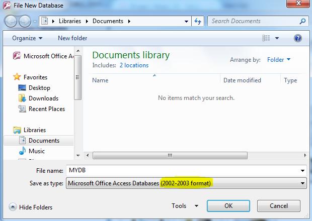 Membuat Database Access (.mdb)