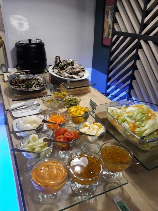 Soup and salad station at Le Soleil de Boracay's Beach Cafe