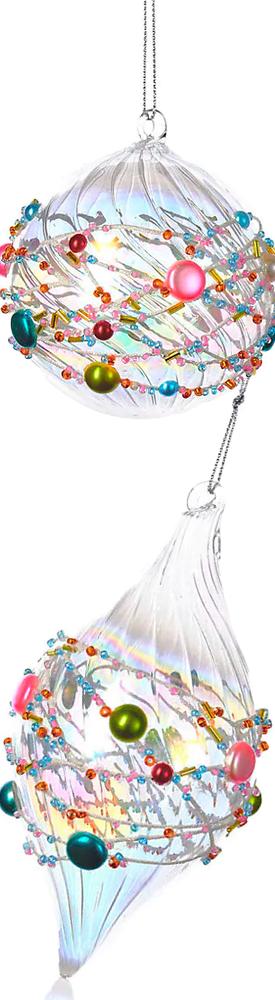 KURT S ADLER XMAS Beaded Glass Ball & Finial Ornament