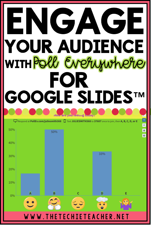 Engage Your Audience with Poll Everywhere for Google Slides™: This post is for educators, technology integration specialists, administrators, and anyone who does public speaking! Embed polls right into your Google Slides™ presentations. Works with PowerPoint and Keynote too!
