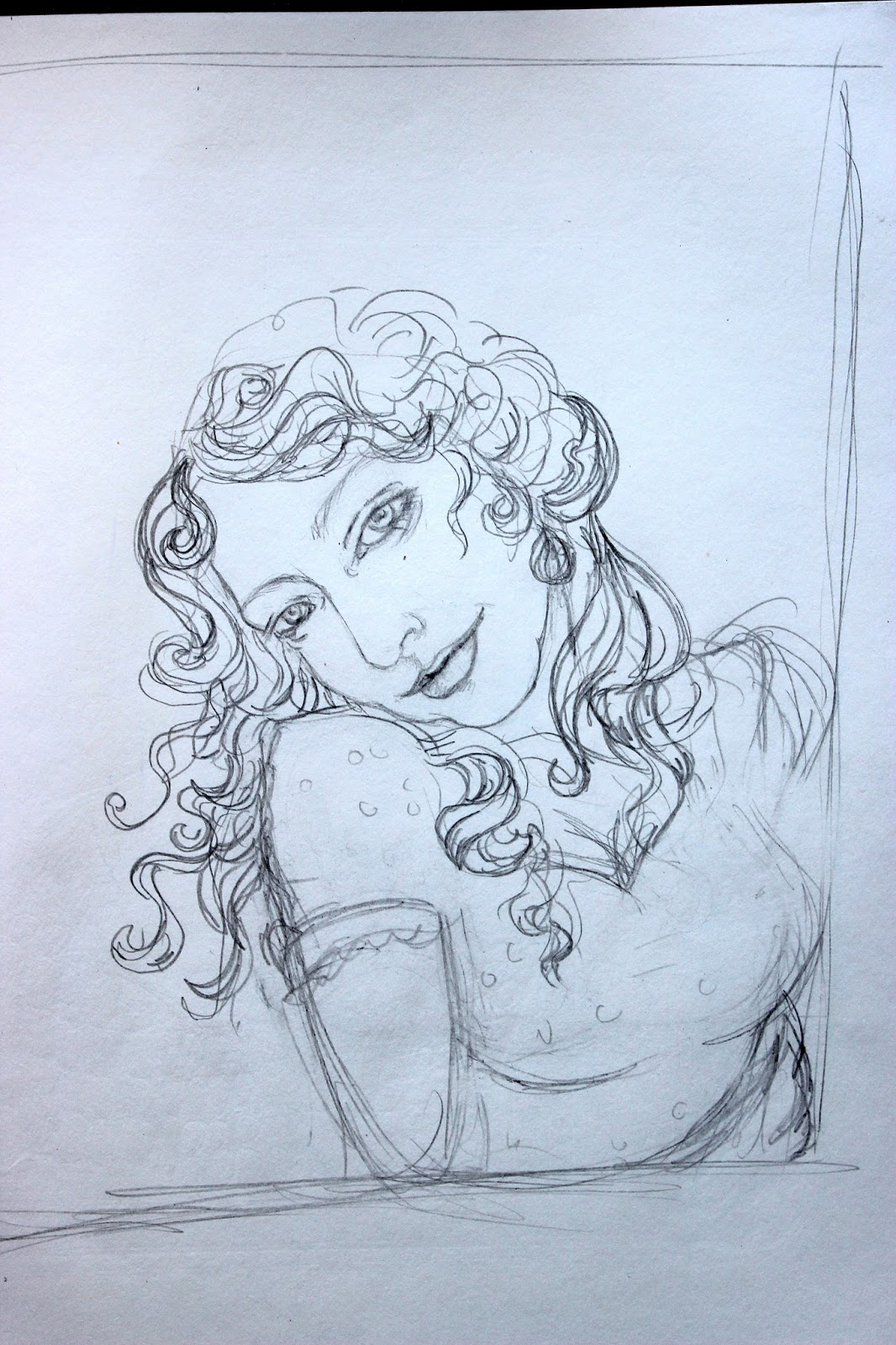 Sketchpad Notebook Sketch Drawing Pencil Portrait Busty Girl