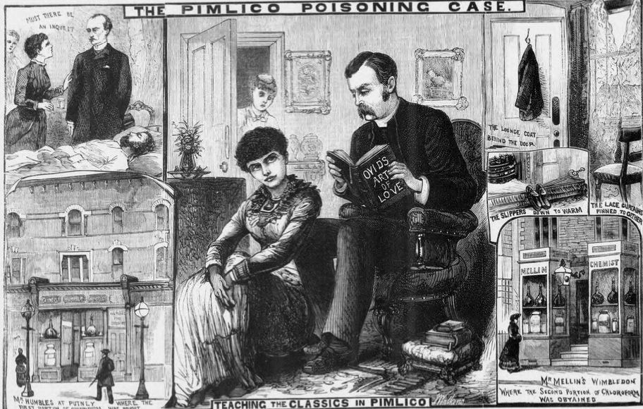 Newspaper drawings of the murder mystery