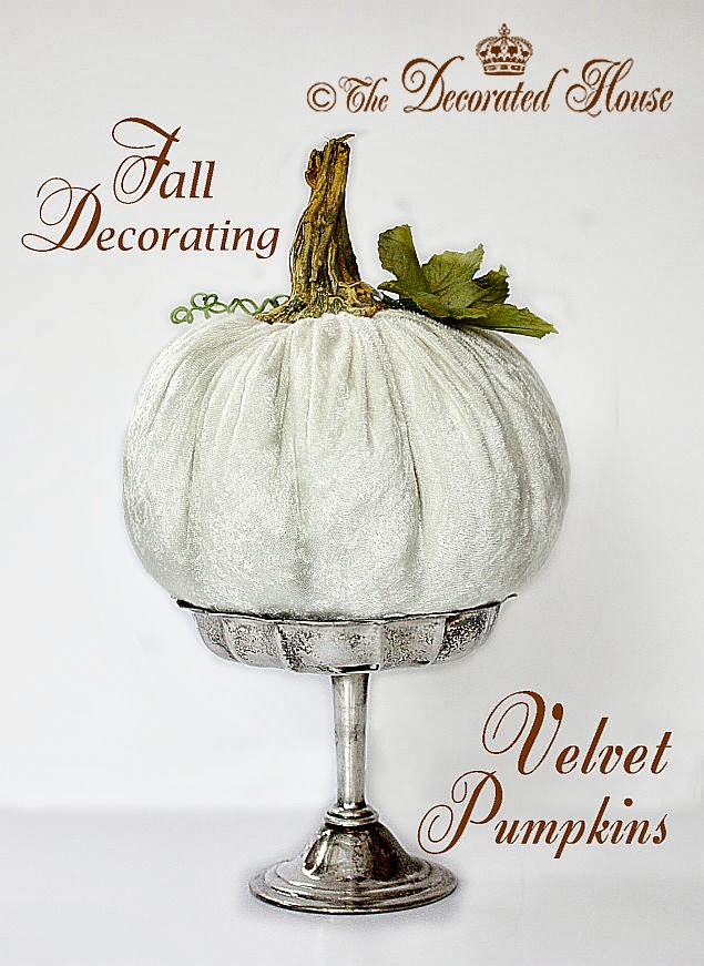 DIY Velvet Pumpkins Tutorial. The Decorated House . How to make these pretty and plush velvet pumpkins.