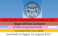 Odisha Public Service Commission Recruitment 2017–Lecturer