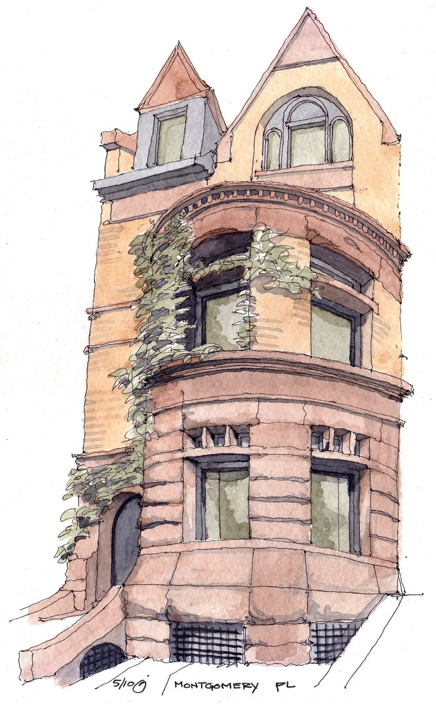 05-Townhouse-on-Montgomery-Place-James-Anzalone-Freehand-Sketches-of-Park-Slope-Brooklyn-USA-www-designstack-co
