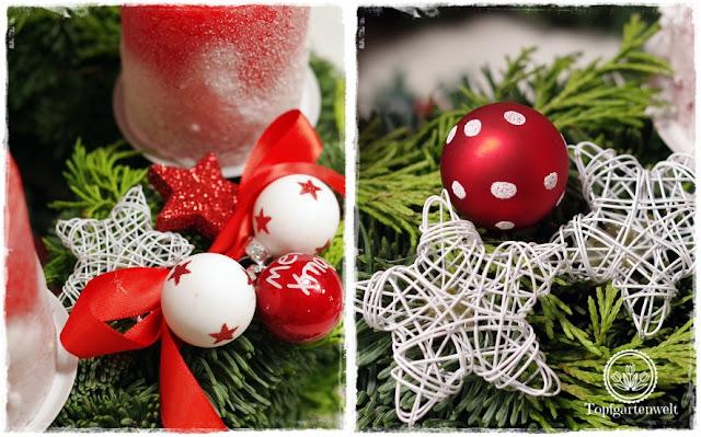 Gartenblog Topfgartenwelt festliche Weihnachtsdekoration in Rot und Weiß + Rezept Flammkuchen: Dekoration für Adventkranz