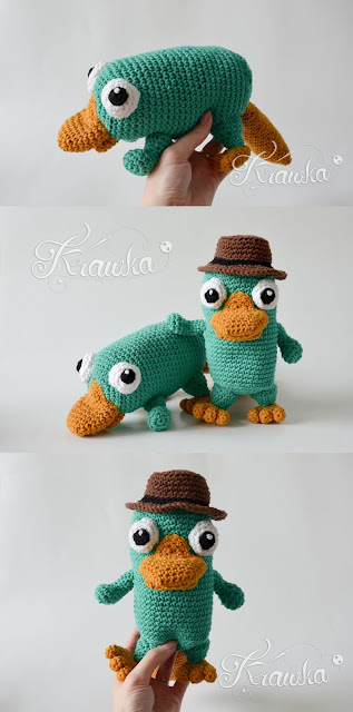 Krawka: Perry the Platypus and agent P in one crochet pattern by Krawka Phineas and Ferb tv series https://www.etsy.com/listing/640936384/crochet-pattern-no-1813-platypus-and?ref=listing_published_alert
