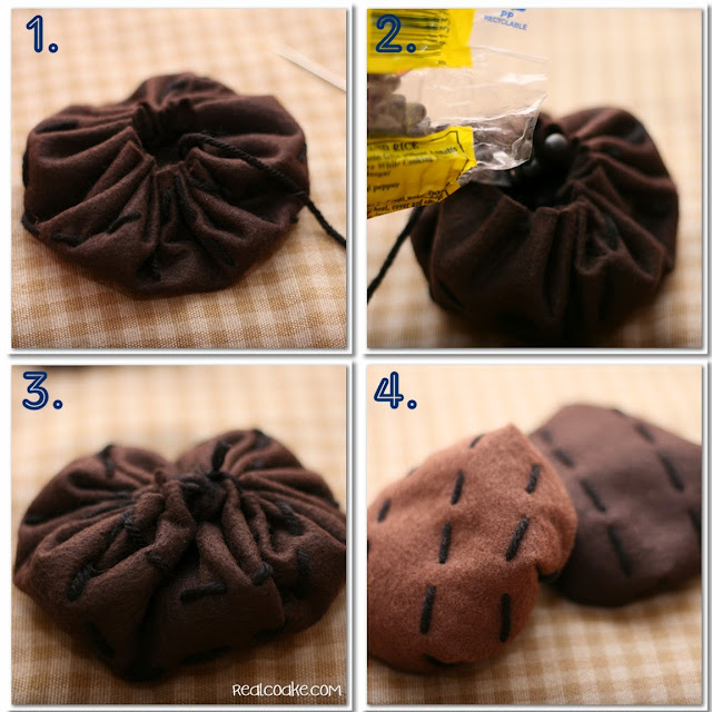 showing steps to make felt burger