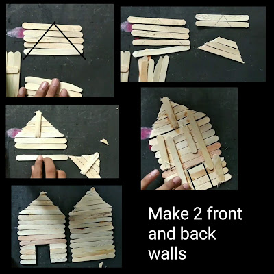 Popsicle stick house, how to make house with Popsicle stick step by step tutorial, Popsicle stick house tutorial, how to make home with ice cream sticks