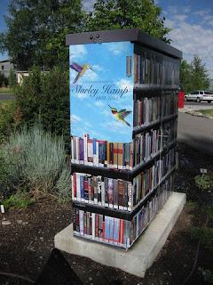 Book-themed utility box wrap near Bozeman Public Library, Bozeman, Montana
