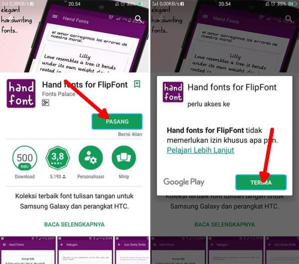 Install Aplikasi Flipfont