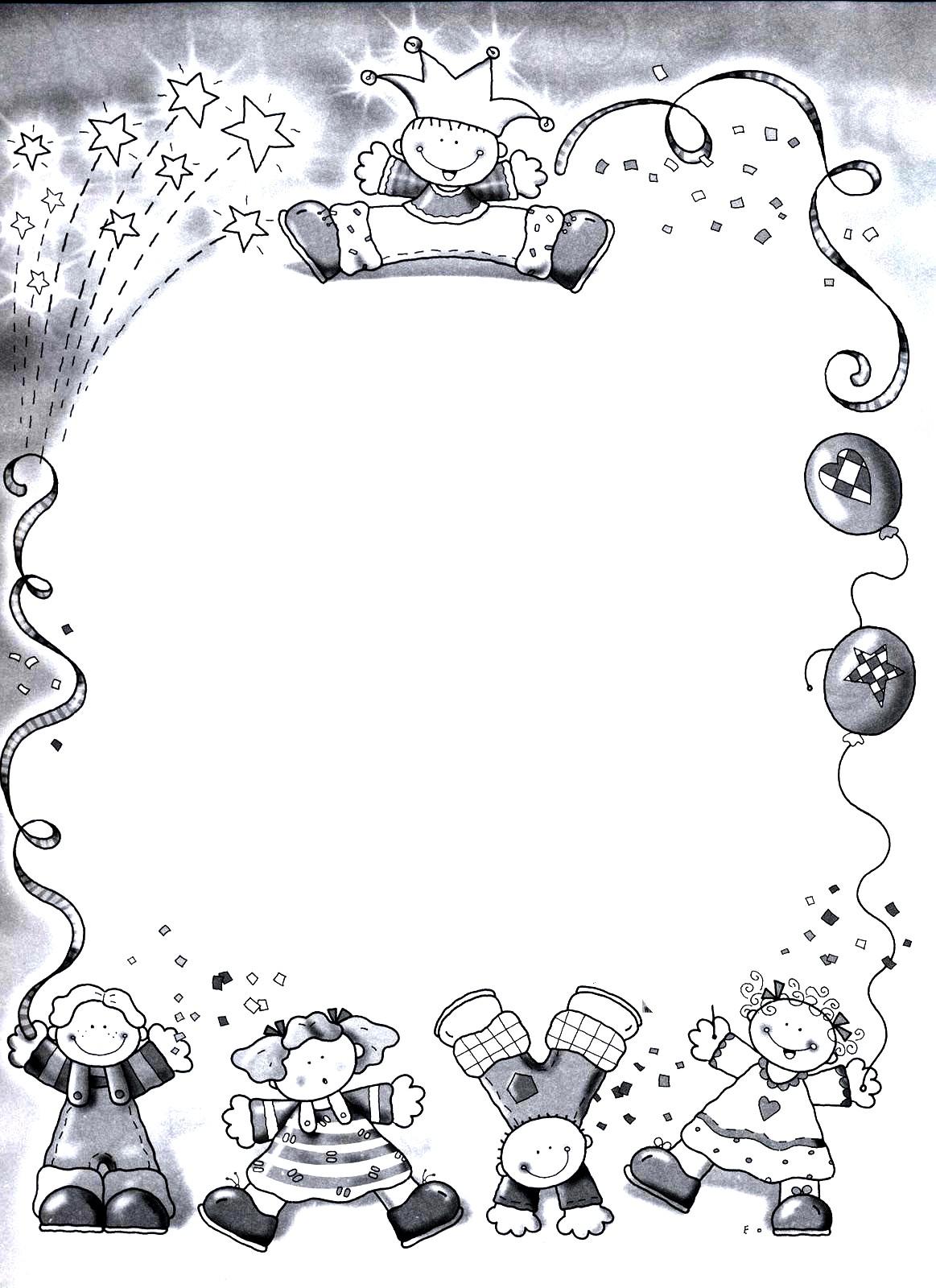 dibujos decorativos navidad fichas de primaria bordes infantiles para colorear