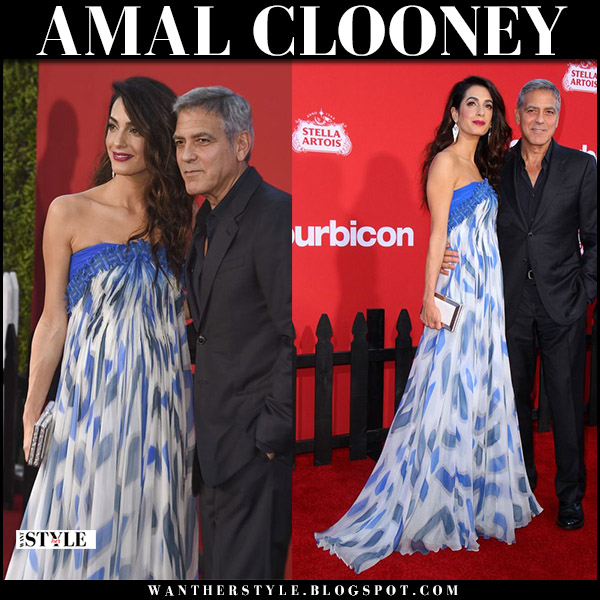 Amal Clooney in blue white strapless dress bill blass on the red carpet at Suburbicon october 22 2017 fashion