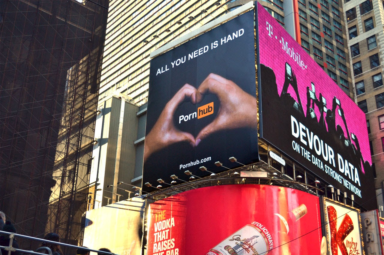 Not a family-friendly message in Times Square