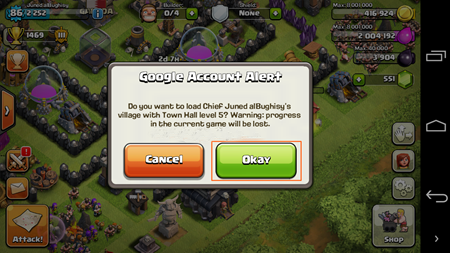 Google Account Alert Clash of Clans