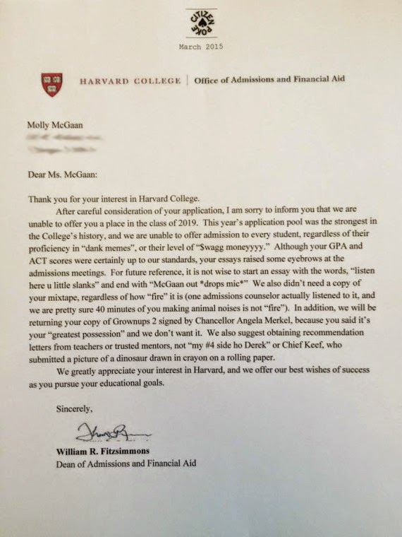 harvard rejection letter the o zone march 2015 1277