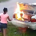 Lobatan! Woman who wanted to get revenge on boyfriend by setting his car on fire mistakenly burnt the wrong car...photos