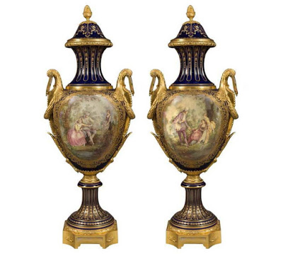 18th Historical Pair of Palatial Sevres Porcelain Urns