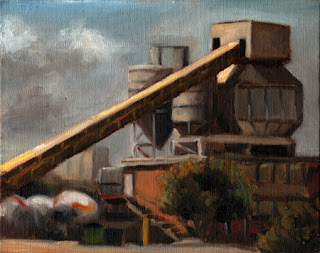 Oil painting of a concrete plant with an office building and some loosely sketched concrete trucks.