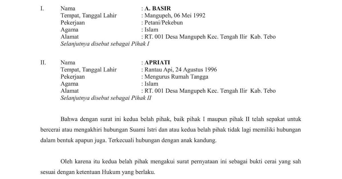 Download Contoh Surat Pernyataan Cerai Doc Atau Word