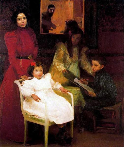 Retrato Familiar,  Joaquín Sorolla Bastida, Retratos de Joaquín Sorolla, Joaquín Sorolla y Bastida, Joaquín Sorolla, Pintor español, Retratista español, Pintores Valencianos