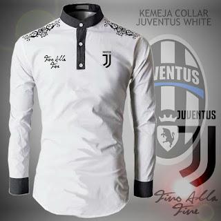 Kemeja Koko Collar Juventus White