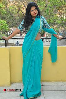 Telugu Actress Alekhya Stills in Green Saree at Swachh Hyderabad Cricket Press Meet  0082.JPG