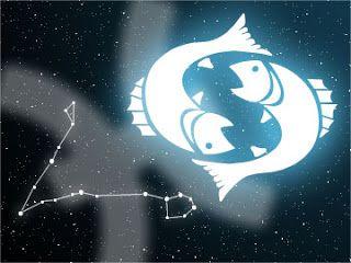 Orígenes de los signos del zodíaco. Constelación de piscis junto a la imagen y el símbolo del signo, con el espacio estrellado de fondo